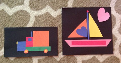 The final creations, a truck and sailboat.