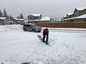 Brian finally was able to use his snow shovel.