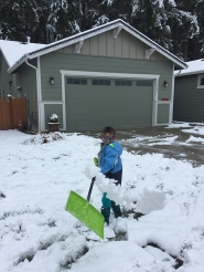Blaise shoveled our neighbor's driveway.